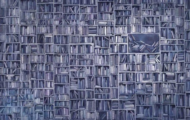 Illustrasjon av Lisa Aisato fra Jenta som ville redde bøkene av Klaus Hagerup